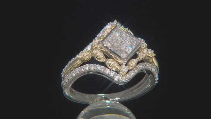 White Diamond 10k White And Yellow Gold Quad Ring 1.00ctw
