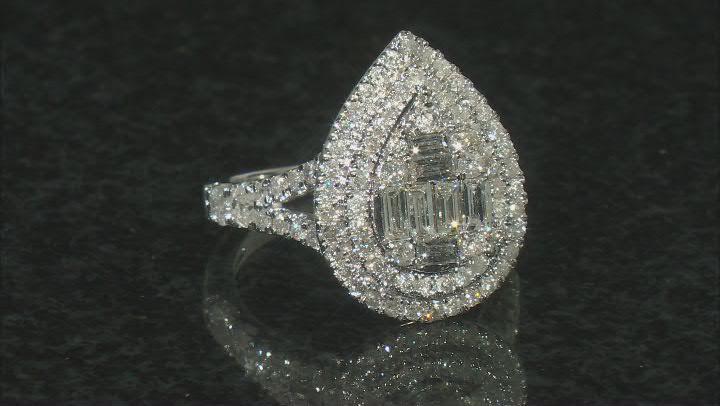 White Diamond Platinum Cluster Ring 2.00ctw