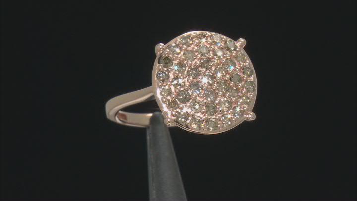 Champagne Diamond 10k Rose Gold Cluster Ring 0.95ctw