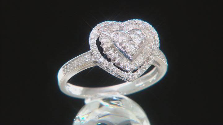 White Diamond 10k White Gold Heart Cluster Ring 0.50ctw