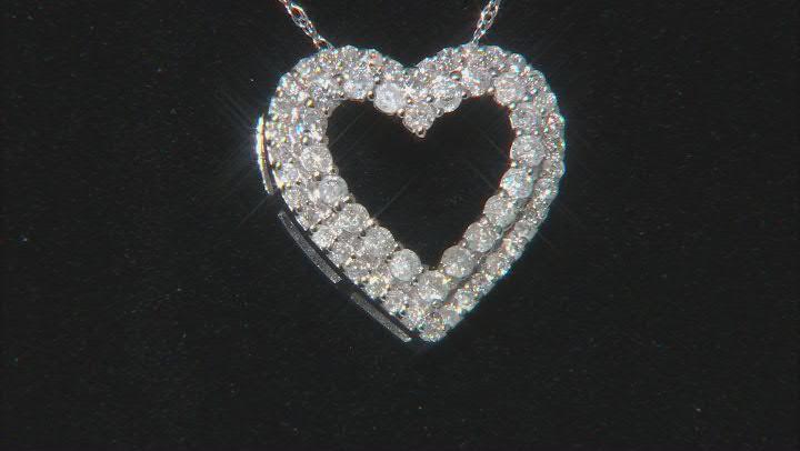 White Diamond 10k White Gold Heart Pendant With Chain 0.50ctw