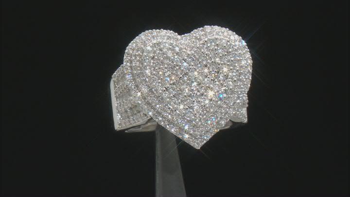 White Diamond 10k White Gold Cluster Heart Ring 2.00ctw