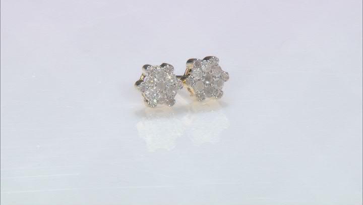 White Diamond 10k Yellow Gold Cluster Stud Earrings 0.25ctw