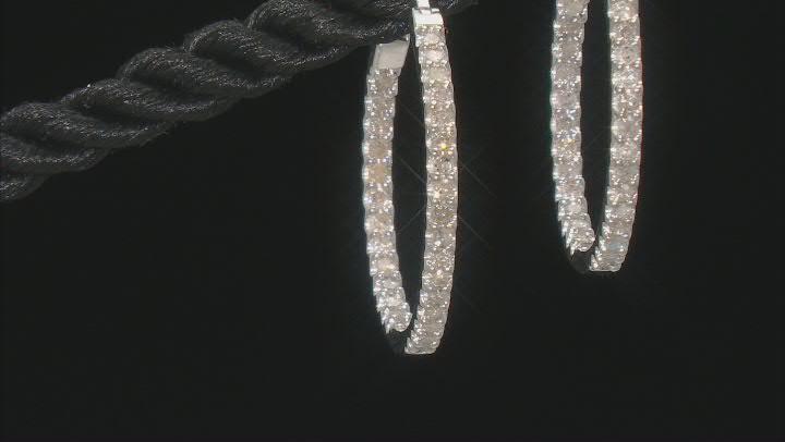 White Diamond 10K White Gold Hoop Earrings 0.50ctw