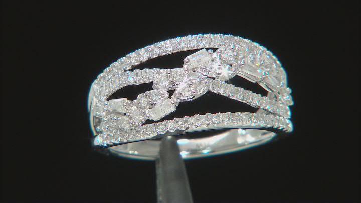 White Diamond 10k White Gold Open Design Ring 0.75ctw