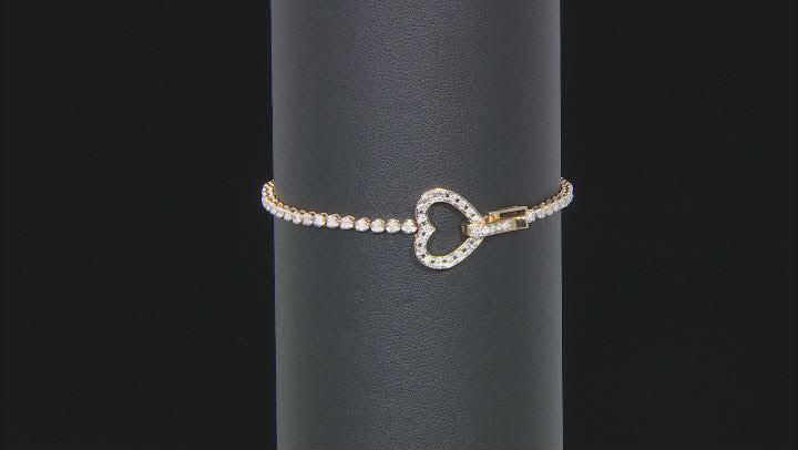 White Diamond 10K Yellow Gold Heart Tennis Bracelet 1.00ctw