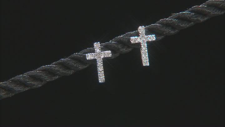 White Diamond 10k White Gold Stud Cross Earrings 0.10ctw