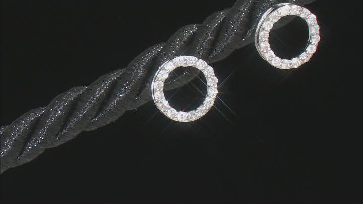 White Diamond 10k White Gold Circle Stud Earrings 0.20ctw
