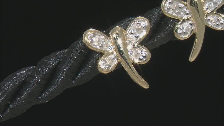White Diamond 10k Yellow Gold Dragonfly Earrings 0.10ctw