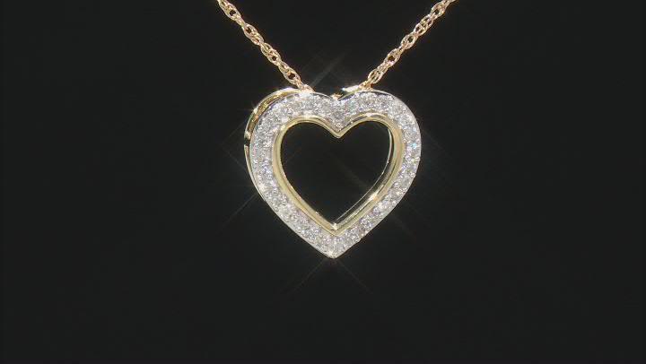 White Diamond 10K Yellow Gold Heart Pendant With Chain 0.20ctw