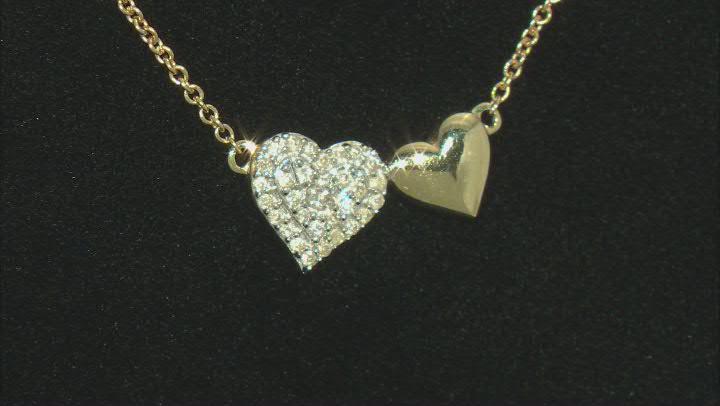 White Diamond 10K Yellow Gold Double Heart Necklace 0.10ctw