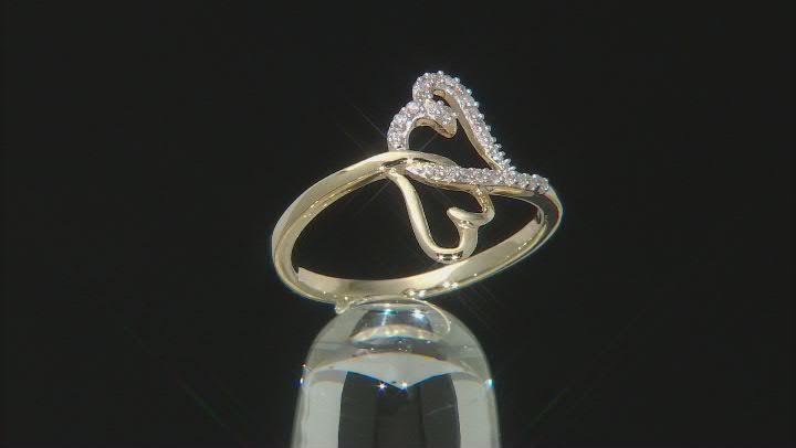 White Diamond 10K Yellow Gold Interlocking Heart Ring 0.10ctw