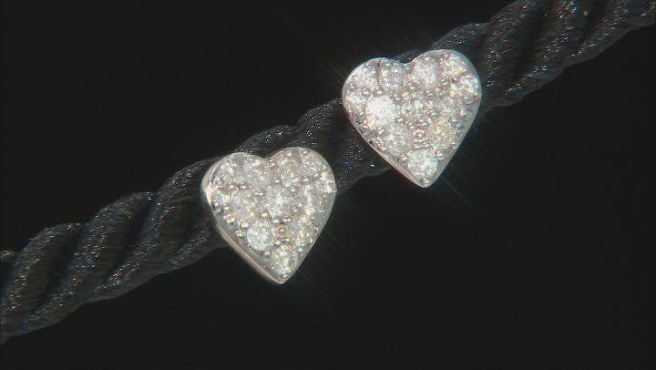 White Diamond 10K Yellow Gold Heart Cluster Earrings 0.50ctw