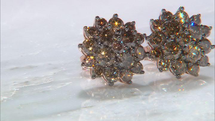 Champagne Diamond 10k Rose Gold Cluster Stud Earrings 2.00ctw