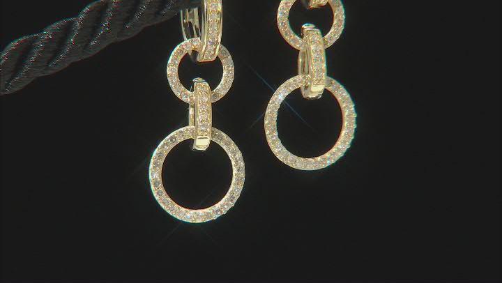 White Diamond 10K Yellow Gold Convertible Dangle Earrings 0.50ctw