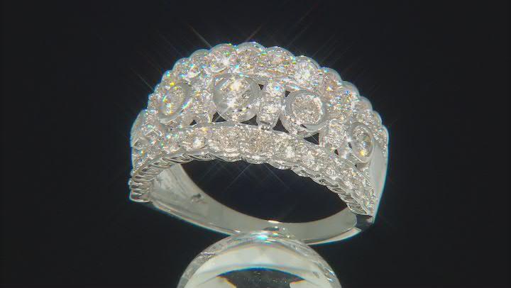 White Diamond 10k White Gold Wide Band Ring 1.25ctw