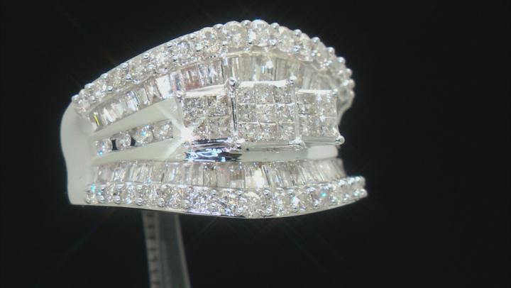 White Diamond 14k White Gold Quad Ring 2.00ctw