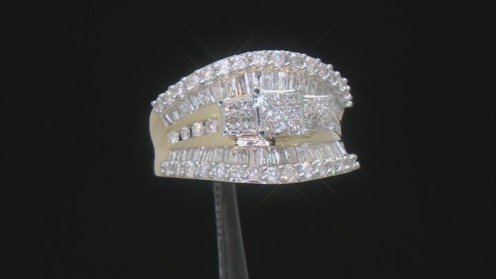 White Diamond 14k Yellow Gold Quad Ring 2.00ctw