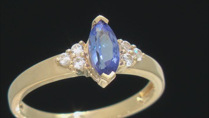 Blue Tanzanite 10k Yellow Gold Ring 0.67ctw