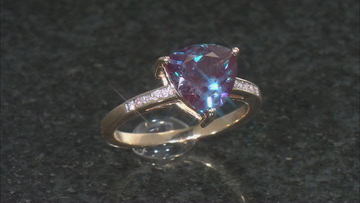 Blue Lab Created Alexandrite 10k Yellow Gold Ring 2.35ctw