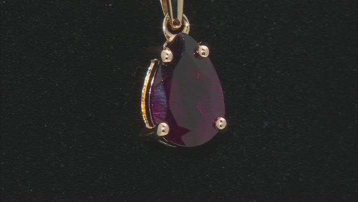 Purple Rhodolite 10K Yellow Gold Pendant With Chain 1.23ct