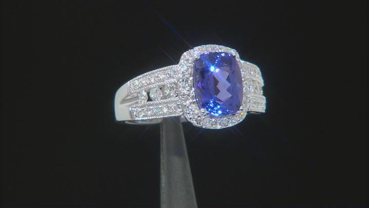 Blue Tanzanite Rhodium Over 14K White Gold Ring 2.27ctw