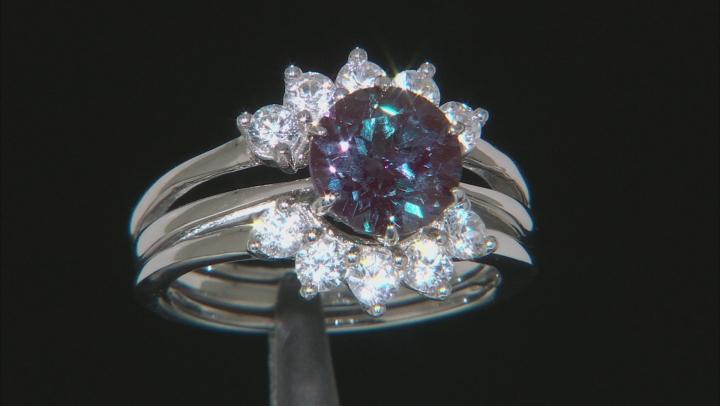 Blue Lab Alexandrite Rhodium Over Silver Ring and Enhancer Set 3.14ctw