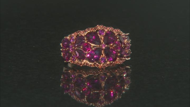 Raspberry color rhodolite 18k rose gold over silver ring 4.61ctw