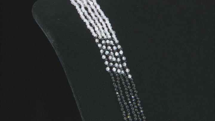 White Rainbow Moonstone, Gray Labradorite & Black Spinel Sterling Silver Multi-Strand Necklace
