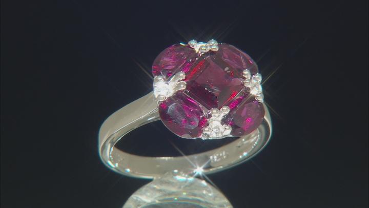 Purple Raspberry Color Rhodolite Rhodium Over Silver Ring 3.43ctw