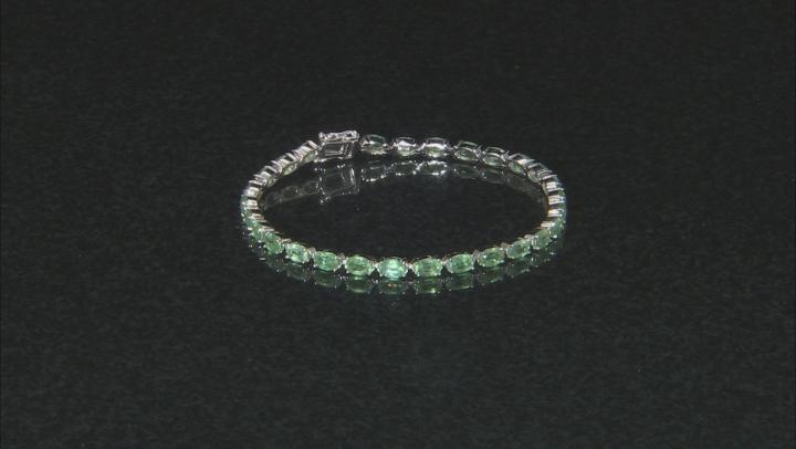 Green Mint Kyanite Rhodium Over Silver Bracelet .16ctw