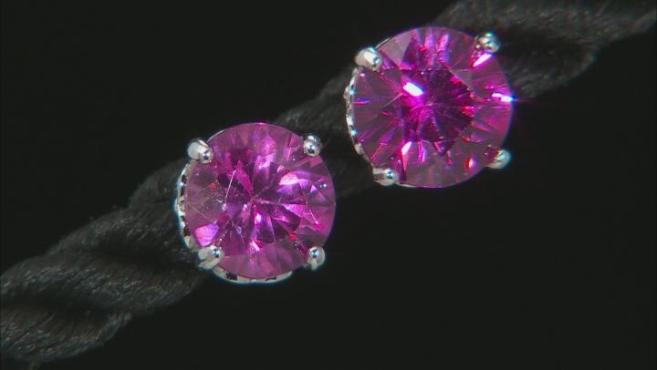 Pink Zircon Rhodium Over Silver Stud Earring 2.63ctw
