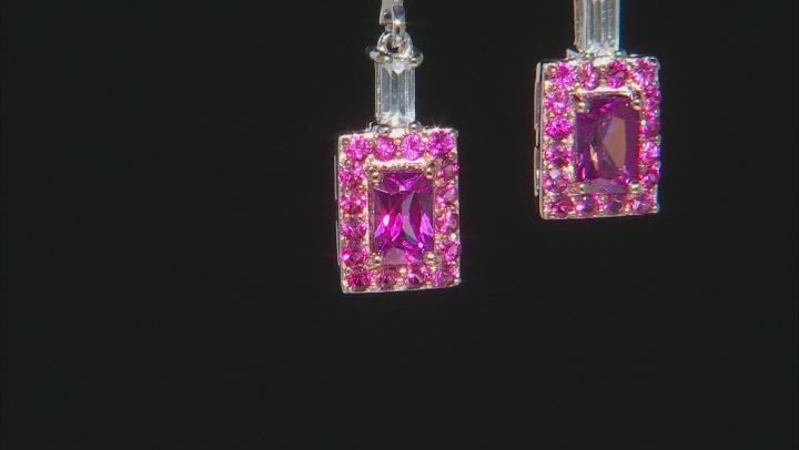 Pink Zircon Rhodium Over Silver Earrings 2.63ctw