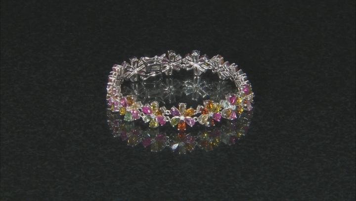 Multi-Color Tourmaline Rhodium Over Silver Bracelet 14.76ctw
