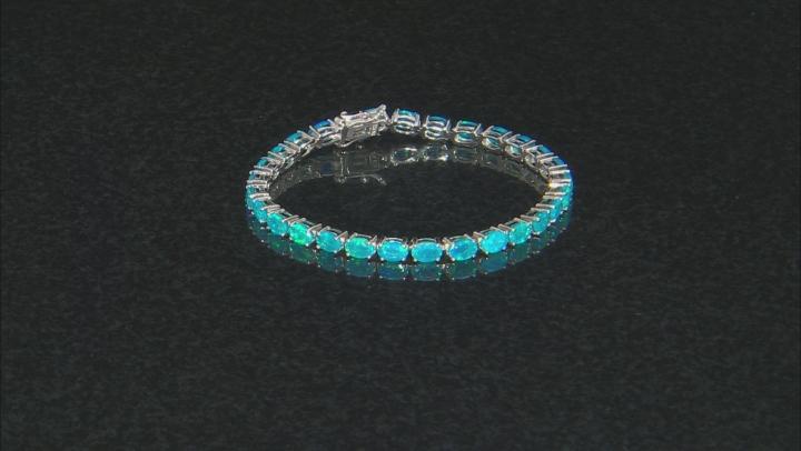 Paraiba Blue Color Opal Rhodium Over Sterling Silver Bracelet 6.90ctw
