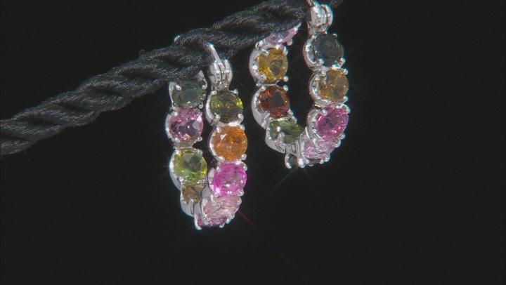 Multicolor tourmaline rhodium over silver inside/outside earrings 3.83ctw