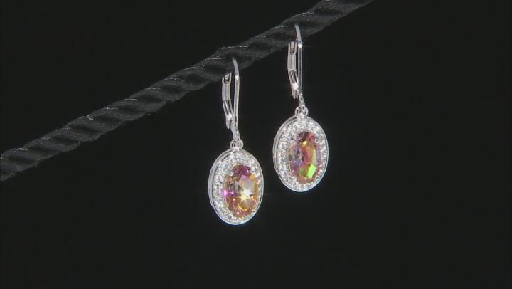Multicolor Northern Lights(TM) Quartz rhodium over silver earrings 2.98ctw