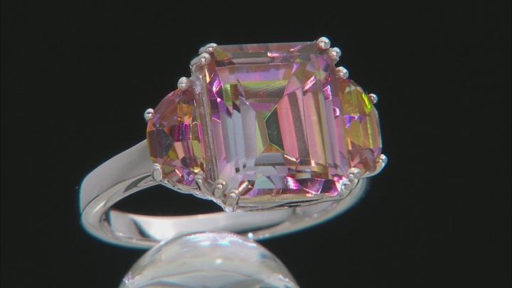 Multicolor Northern Lights(TM) Quartz rhodium over silver ring 5.84ctw