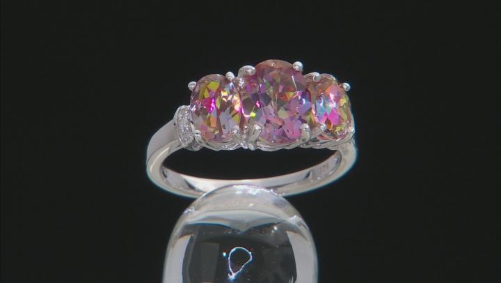 Multicolor Northern Lights(TM) Quartz rhodium over silver ring 2.87ctw