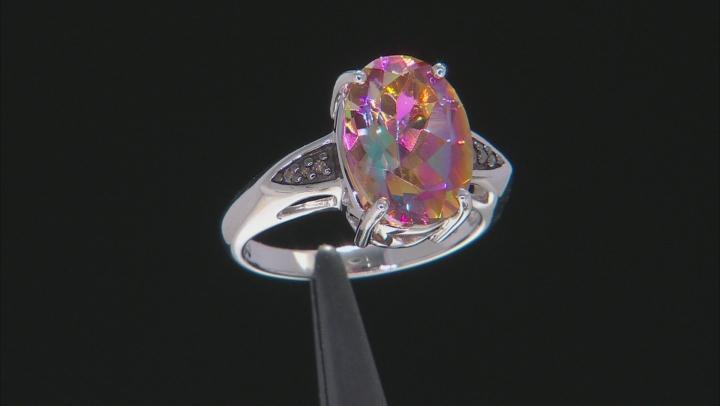 Multi-color Northern Lights™ Quartz Rhodium Over Silver Ring 4.96ctw