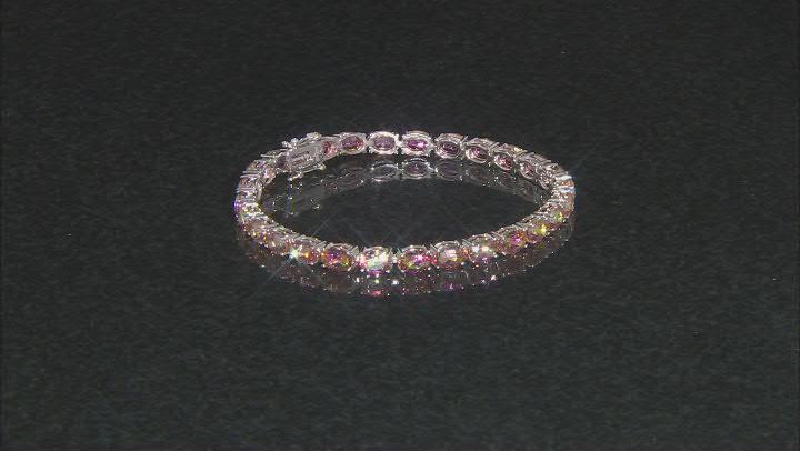 Multi color Northern Lights™ Quartz Rhodium Over Silver Tennis Bracelet 15.91ctw