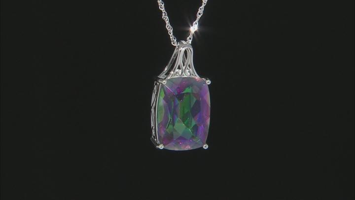 Multi-Color Quartz Rhodium Over Silver Pendant With Chain 17.85ct