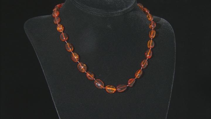 Orange amber rhodium over sterling silver necklace