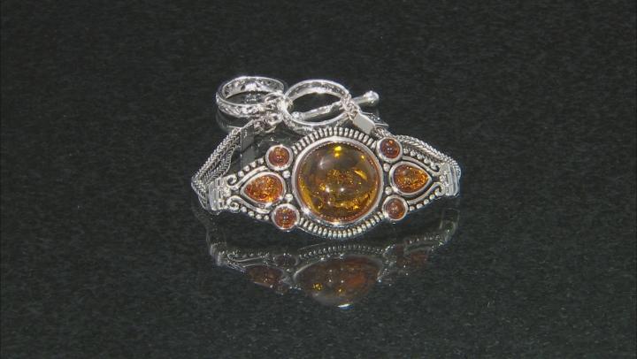 Orange amber rhodium over sterling silver bracelet