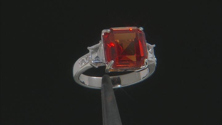Orange Lab Created Padparadscha Sapphire Rhodium Over Silver Ring 7.89ctw