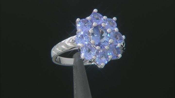 Blue Tanzanite Rhodium Over Silver Ring 2.52ctw