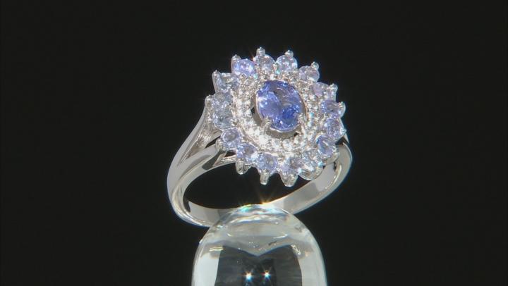 Blue Tanzanite Rhodium Over silver Ring 2.14ctw