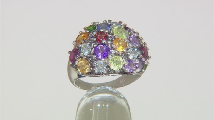 Purple Amethyst Rhodium Over Silver Ring 3.91ctw