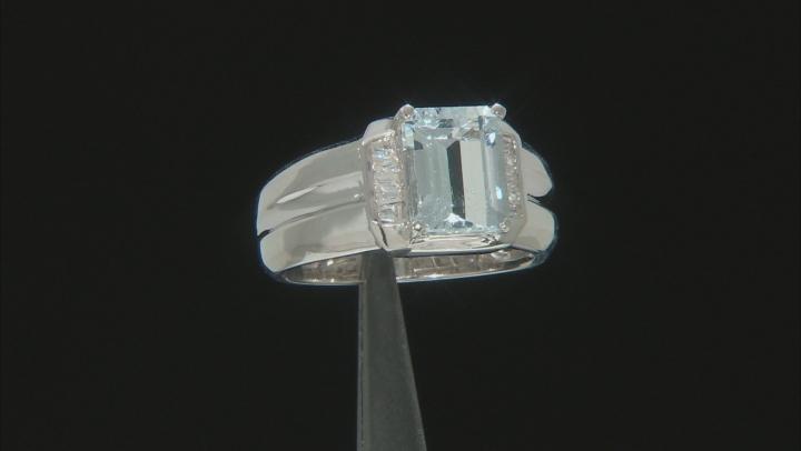 Blue Aquamarine Rhodium Over Sterling Silver Men's Ring 3.02ctw