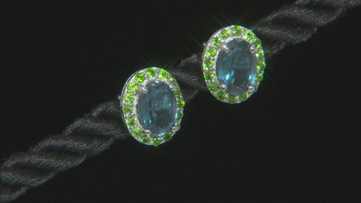 Blue Chromium Kyanite Rhodium Over Silver Earrings 2.06ctw